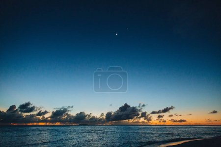 Photo for Beautiful seascape and sky at sunset at Thoddoo island, Maldives - Royalty Free Image