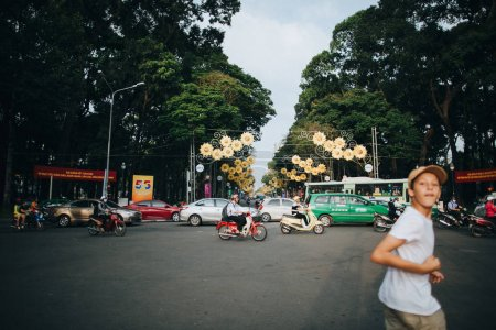 Photo for HO CHI MINH, VIETNAM - 03 JANUARY, 2018: traffic on busy street in Ho Chi Minh, Vietnam - Royalty Free Image