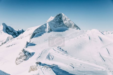 Photo for Majestic alpine landscape with snow-capped mountains in mayrhofen, austria - Royalty Free Image