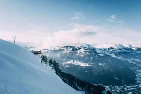 beautiful snow-covered mountain peaks in mayrhofen, austria