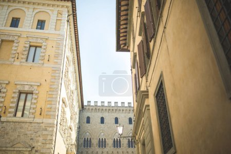 Photo for Walls of medieval buildings in city of Siena - Royalty Free Image