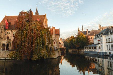 Photo for View of canal and houses in brugge, belgium - Royalty Free Image