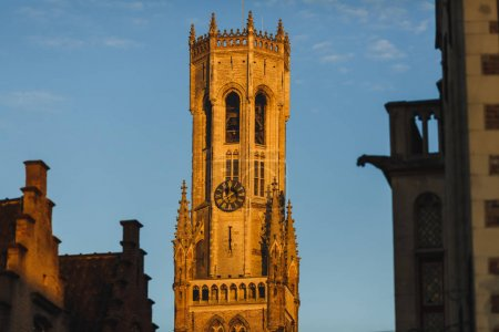 Photo for Famous belfort tower at sunlight, brugge, belgium - Royalty Free Image