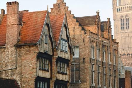 Photo for Beautiful traditional houses in historical quarter of brugge, belgium - Royalty Free Image
