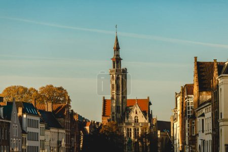 Photo for Beautiful cityscape with traditional ancient architecture in brugge, belgium - Royalty Free Image