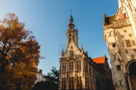 Photo for Beautiful architecture of old buildings at historical quarter of brugge, belgium - Royalty Free Image