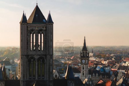 Photo for Aerial view of beautiful ancient architecture in historical quarter of Ghent, Belgium - Royalty Free Image
