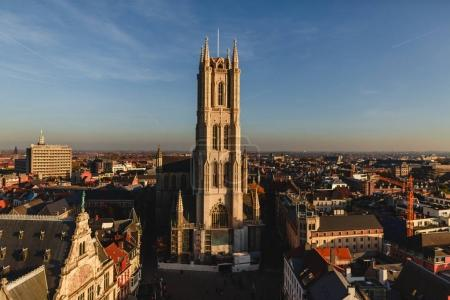 Photo for Aerial view of beautiful cityscape and ancient cathedral in Ghent, Belgium - Royalty Free Image