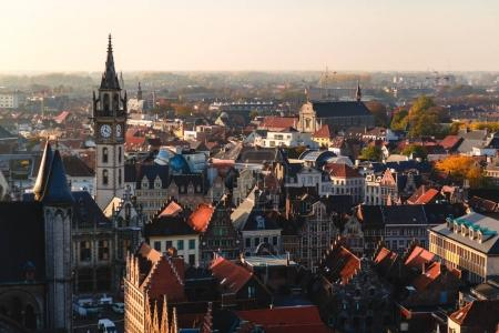 Photo for Aerial view of beautiful architecture in historical quarter of Ghent, Belgium - Royalty Free Image