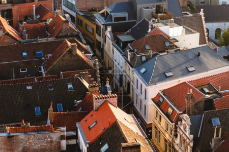 Photo for Aerial view of rooftops and narrow street in Ghent, Belgium - Royalty Free Image