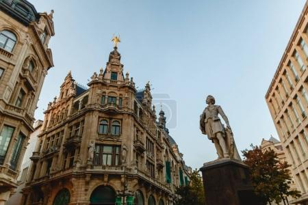 Photo for Low angle view of statue in historical quarter of Antwerp, Belgium - Royalty Free Image