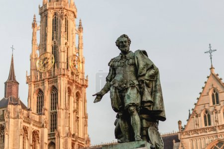 Photo for Statue of Rubens on the Groenplaats with the Cathedral of Our Lady, Antwerp, Belgium - Royalty Free Image