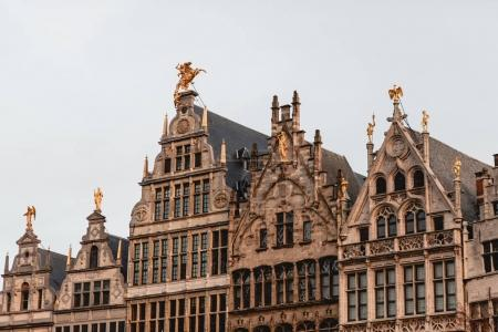 Photo for Beautiful ancient buildings with sculptures in historical quarter of Antwerp, Belgium - Royalty Free Image