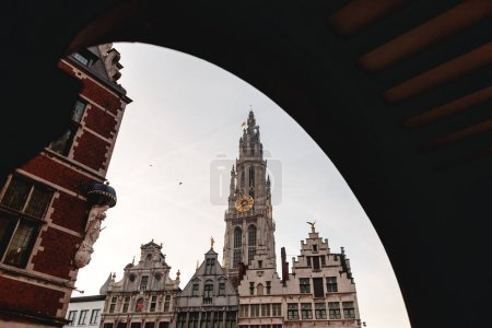 Photo for Low angle view of beautiful famous Cathedral of Our Lady in Antwerp, Belgium - Royalty Free Image