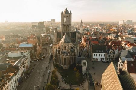 Photo for GHENT, BELGIUM - NOVEMBER 02, 2016: aerial view of ancient cathedral and cityscape in Ghent, Belgium - Royalty Free Image