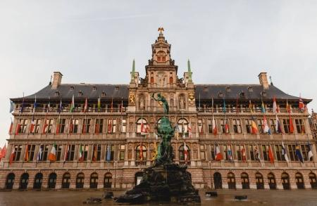Photo for ANTWERP, BELGIUM - NOVEMBER 02, 2016: beautiful architecture of famous antwerp city hall in Antwerp, Belgium - Royalty Free Image