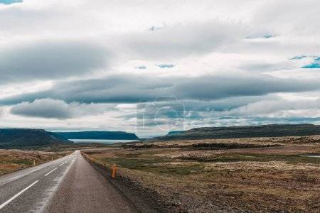 Photo for Majestic icelandic landscape and empty asphalt road, western iceland - Royalty Free Image