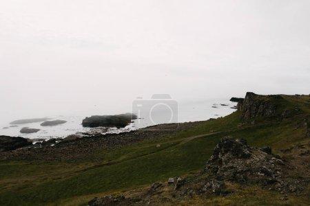 Photo pour Majestueux paysage islandais avec rochers, talus herbeux et bord de mer - image libre de droit