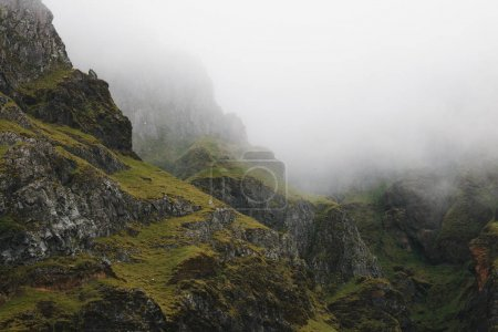 Photo for Beautiful rocks covered with green moss in fog, iceland - Royalty Free Image