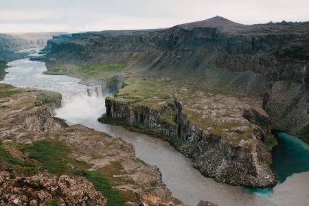 Photo for Aerial view of beautiful river and spectacular waterfall in iceland - Royalty Free Image