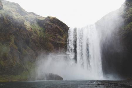 Photo for Beautiful landscape with scenic powerful Skgafoss waterfall in iceland - Royalty Free Image