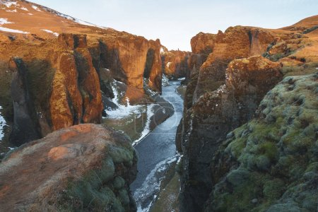 Photo for Majestic landscape with river and rocky hills, fjadrargljufur, iceland - Royalty Free Image