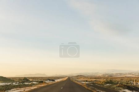 Photo for Empty asphalt road and beautiful landscape with snow in iceland - Royalty Free Image