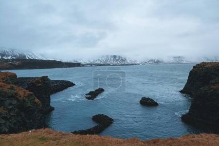Photo for Majestic landscape with scenic fjord and rocky mountains in snow, iceland - Royalty Free Image