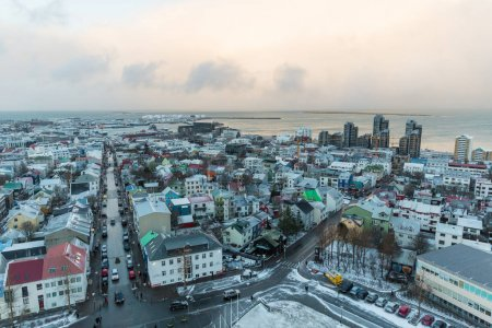 REYKJAVIK, ICELAND - 03 JANUARY, 2017: aerial view of urban streets with traffic and buildings in Reykjavik, Iceland