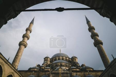 Photo for Low angle view through arch on suleymaniye mosque in Istanbul, Turkey - Royalty Free Image