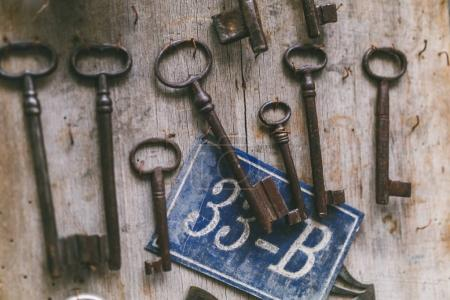 Photo for Different keys hanging on wooden stand in Istanbul, Turkey - Royalty Free Image