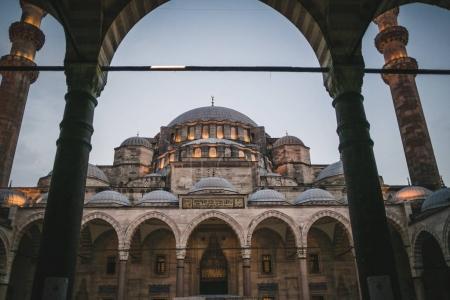 view through arch on suleymaniye mosque in Istanbul, Turkey
