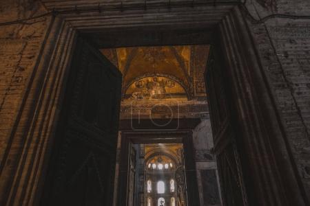 ISTANBUL, TURKEY - OCTOBER 09, 2015: low angle view of open doors in suleymaniye mosque