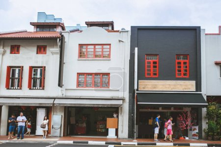 Photo for SINGAPORE - JAN 19, 2016: urban scene with various colorful buildings - Royalty Free Image