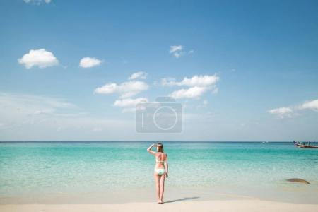 PHUKET, THAILAND - DEC 20, 2015: Back view of woman in bikini looking away while standing on coastline