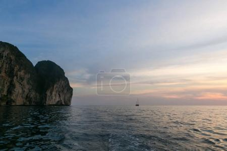 Photo for Beautiful scenic view of sunset over ocean, phi phi islands - Royalty Free Image