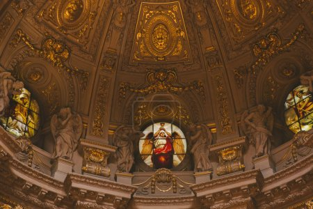 Photo for BERLIN, GERMANY - JUNE 20, 2017: bottom view of beautiful ancient Berliner Dom ceiling in Berlin, Germany - Royalty Free Image