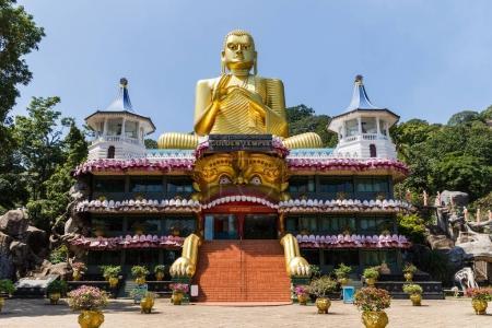 Photo pour DAMBULLA, SRI LANKA - JAN 17, 2017 : vue panoramique de l'ancien monument religieux en Asie - image libre de droit
