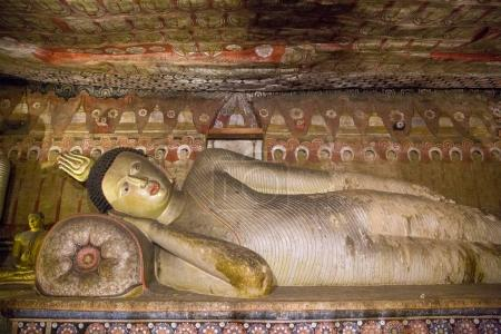 Photo for DAMBULLA, SRI LANKA - JAN 17, 2017: close up view of ancient traditional religious monuments in Asia - Royalty Free Image