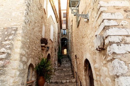 Photo for Stairs between ancient building at old european town, Antibes, France - Royalty Free Image