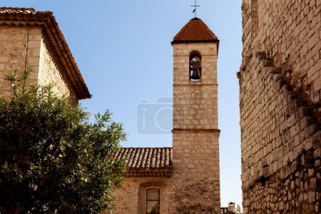 Photo for Ancient church with bell tower at old european town, Antibes, France - Royalty Free Image