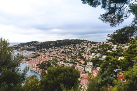 Photo for Aerial view of beautiful european town on hill over seashore, Cannes, France - Royalty Free Image