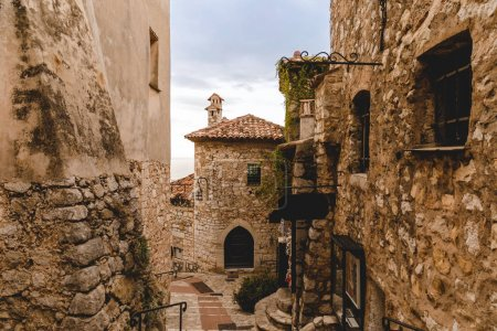 Photo for Ancient stone buildings at old town on cloudy day, Eze, France - Royalty Free Image