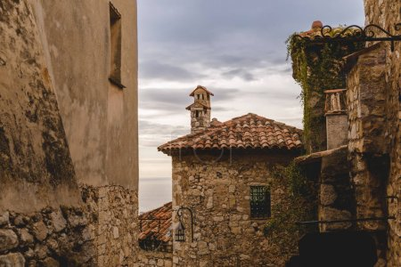 Photo for Stone buildings at old town on cloudy day, Eze, France - Royalty Free Image