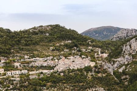 Photo for Aerial view of beautiful small town in mountains, Peille, France - Royalty Free Image