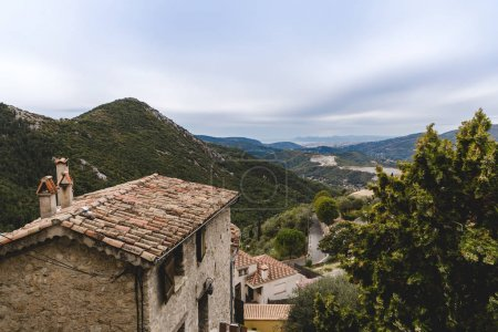 Photo for Aerial view of small european town in mountains, Peille, France - Royalty Free Image