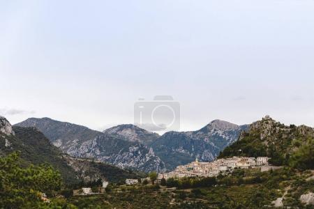 Photo for Aerial view of small town in mountains, Sainte Agnes, France - Royalty Free Image