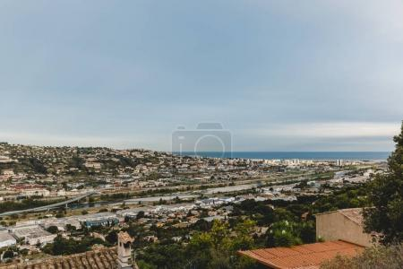 Photo for Aerial view of european city on seashore, Nice, France - Royalty Free Image