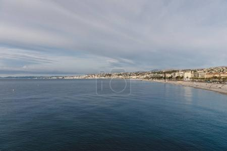 Photo for Aerial view of beautiful small european town on sea coast, Nice, France - Royalty Free Image