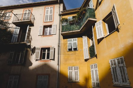 Photo for Bottom view of  old building at european town, Nice, France - Royalty Free Image